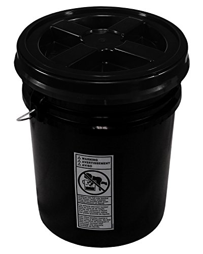 Black 5 Gallon 90 mil Bucket with Gamma Seal Lid (Black) (Black Lid Bucket)