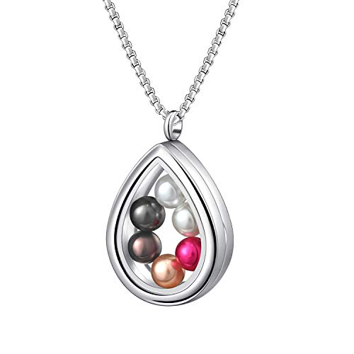 - SAM & LORI Pearl Cage Necklace Pendant Large Pick A Pearl Holder Stainless Steel Teardrop Glass Floating Locket Charms Jewelry Gift Set with 6pcs Round Wish Pearls of 7-8 mm Inside for Women Girls