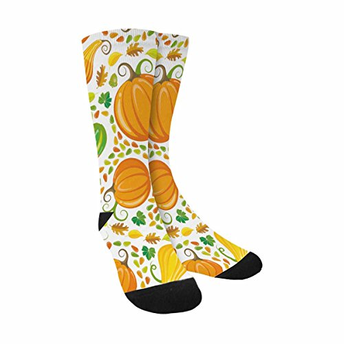 InterestPrint Funny Cute Novelty and Cool Pumpkin Patch Pattern Sublimated Crew Socks Unisex