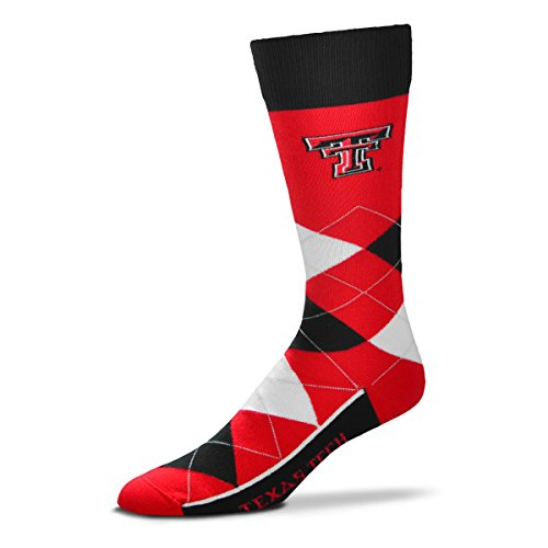 Texas Red Rubber Tech Raiders - For Bare Feet NCAA Argyle Lineup Unisex Crew Dress Socks-One Size Fits Most-Texas Tech Red Raiders