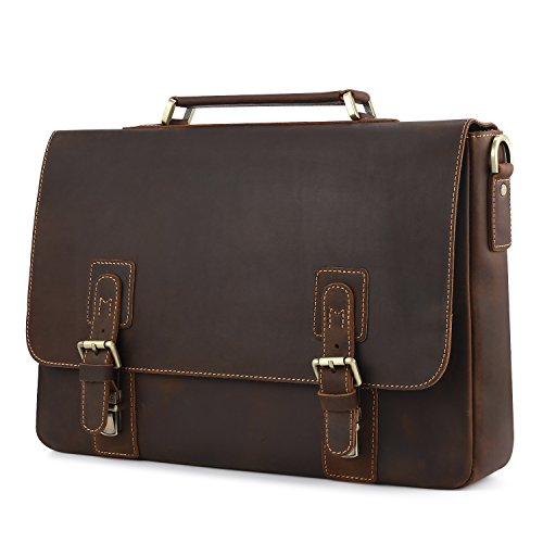 Kattee - Maletín Vintage de Piel para Hombre, Hecha a Mano,color marrón marrón
