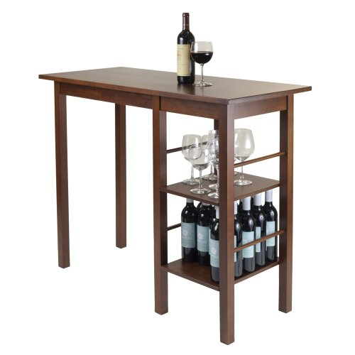 Winsome Wood Egan Breakfast Table with 2 Side Shelves (Breakfast For Two Tables)