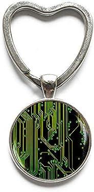 Computer Circuit Board Key Ring, Circuit Board Keychain, Art Gifts,Circuit Board Jewelry, Wearable Technology,