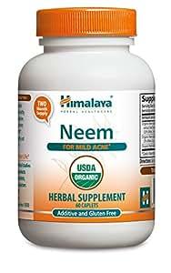 Himalaya Organic Neem (2 Pack) for Mild Acne & Healthy Skin 60 Caplets 600mg