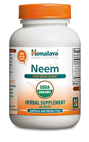 Himalaya Organic Neem 60 Caplets for Mild Acne & Healthy Skin 600mg (Pack of 2)