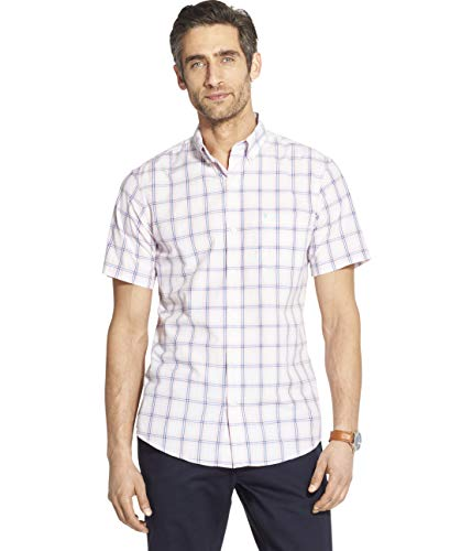 IZOD Men's Breeze Short Sleeve Button Down Plaid Shirt, Candy Pink, - Candy Dresses Pink