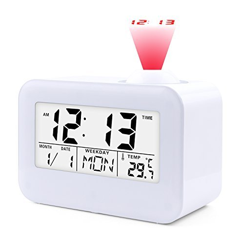 "JJCALL Projection Alarm Clock, Digital Clock with 5"" LED Display Calendar Battery Operated for Home Office Bedrooms Desk Hourly Chime"