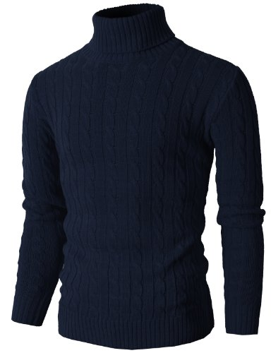 H2H Mens Casual Turtleneck Slim Fit Pullover Sweaters with Twist Patterned Navy US M/Asia L (KMOSWL033)