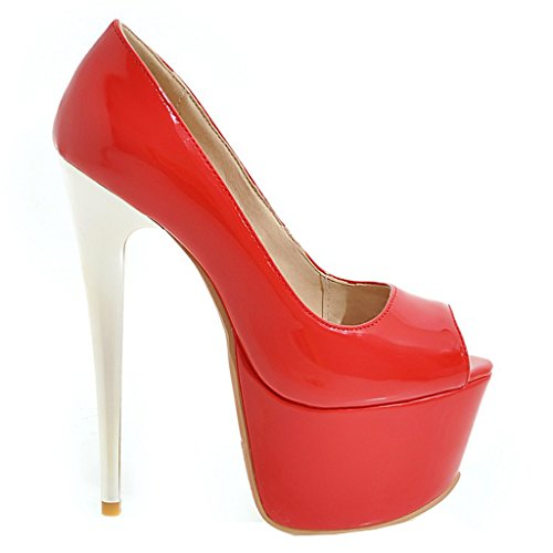 21 Sexy Leather Court Womens Wedding Peep Dress ENMAYER Round Slip Pumps and Shoes on High Patent Platform Toe Red Stiletto Super Heels tEBxq1wn