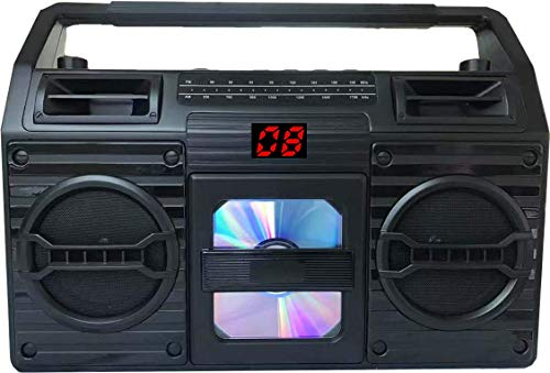 Sylvania Portable Retro Bluetooth Cd, Am/FM Radio Boombox, 20 Track Programmable Memory