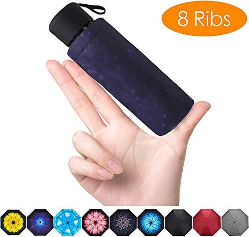 FidusUpgraded 8 Ribs Mini Portable Sun&Rain Lightweight WindproofUmbrella - Compact Parasol Outdoor Travel Umbrella for MenWomen Kids-Starry Sky