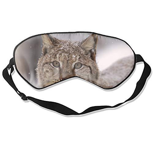 Sleeping Mask Lynx Snow Spotted Snout Print Adjustable Eyes Masks