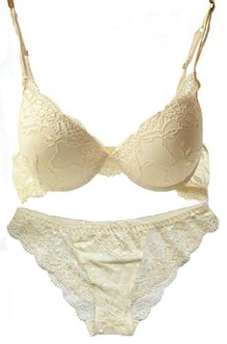 Nanier Women's Solid Lace Push up Bra Set Beige 32A