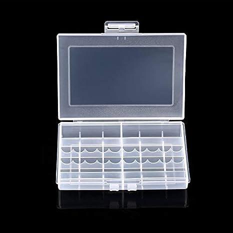 Caja de plástico Duro Transparente 8002 Baterías Caja de Almacenamiento de Almacenamiento Caja de batería de Almacenamiento para 10 X AA o 14 X AAA Batería: Amazon.es: Electrónica