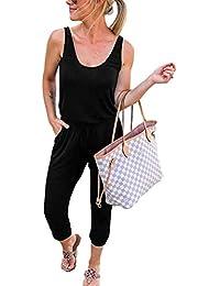 Women's Summer Tank Jumpsuit Casual Loose Sleeveless Beam Foot Elasitic Waist Jumpsuit Romper with Pockets