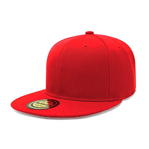 Flat Visor Snapback Hat Blank Cap Baseball Cap - 8 Colors (Red)]()