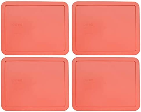 Pyrex 7212-PC 11 Cup Rectangular Coral Orange Replacement Lid for Glass Dish