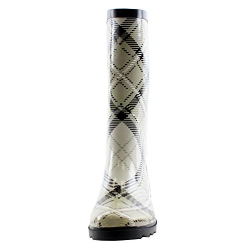 Rainboots Blvd Mid West Waterproof Calf White Plaid Rubber Women's 4ZFxpR