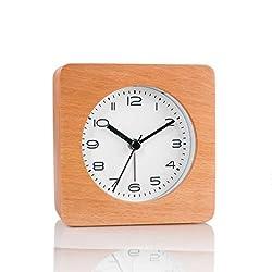 Artinova Classic Square Wooden Clock, Wooden Handmade, Silent Desk Alarm Clock with Nightlight(Manual Control) for Home/Bedroom/Office ARTA-6038