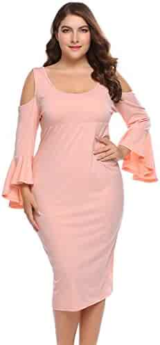 6e5d2cc2f20 IN VOLAND Women Plus Size Cold Shoulder Dress Long Sleeve Swing Dress Round  Neck Loose