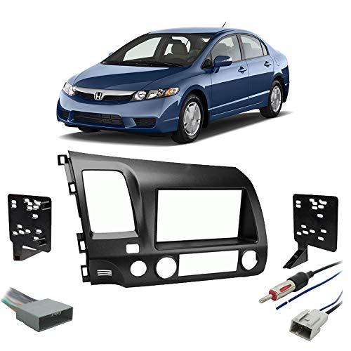 Fits Honda Civic 2009-2011 Single or Double DIN Stereo Radio Install Dash Kit Gray ()