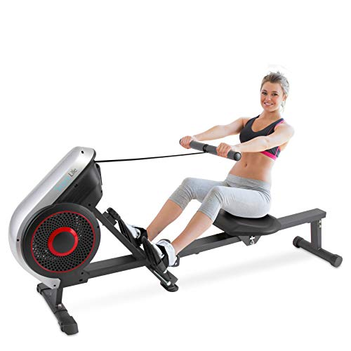 SereneLife Digital Folding Rowing Machines Magnetic – 8 Level Magnetic Resistance Rowing Machine Exercise – Foldable Travel Portable Rower Fitness Trainer Rowing Machine with LCD Monitor SLRWMC18