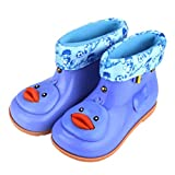 HTHJSCO Children Rain Shoes,Infant Kids Children Baby Cartoon Duck Rubber Waterproof Warm Boots Rain Shoes (Blue, 25)