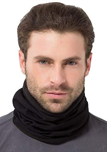 Tough Headwear Reversible Microfiber Fleece Gaiter Tube Neck Warmer (Solids) - Black