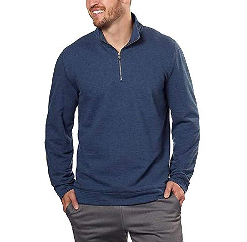 Calvin Klein Jeans Mens 1/4-Zip Pullover Sweatshirt (Navy Heather, Medium)