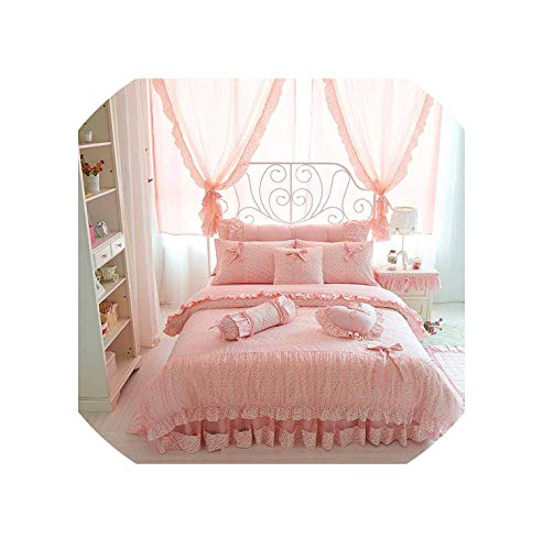 (Cherry Printing 100 Cotton Bedding Sets King Queen Size Bow Design Quilt Cover Ruffles Bedspread Bed Linen Pillowcases 4/6/8Pcs,Pink with Lace,Queen Size 8Pcs)