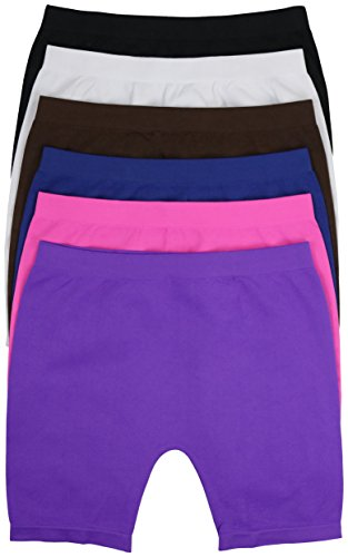 Twinkling Set - ToBeInStyle Girl's Pack of 6 Long Boyshorts (Small, Assorted 2)