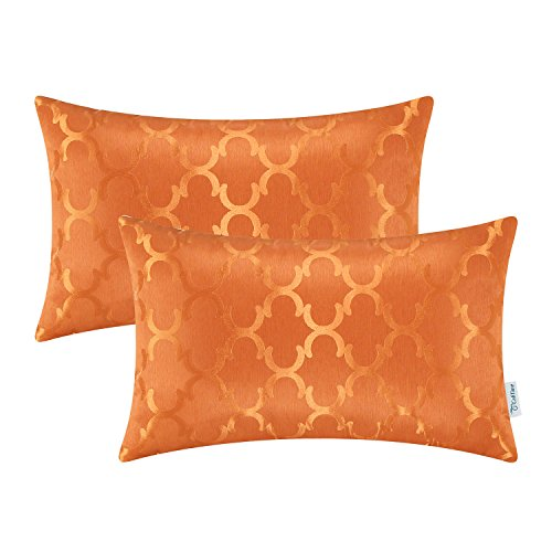 CaliTime Pack of 2 Cushion Covers Bolster Pillow Cases Shells for Home Sofa Couch Modern Shining & Dull Contrast Quatrefoil Accent Geometric 12 X 20 Inches Bright Orange
