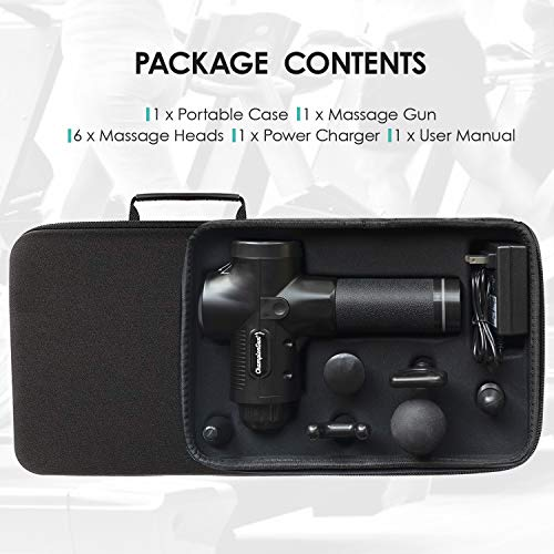 Championgun Percussion Massage Gun Deep Tissue Handheld Massager Gun Portable Quiet Muscle Massagers with 6 Massage Head Attachments Electric Body Massager for Muscle Brushless Motor Black