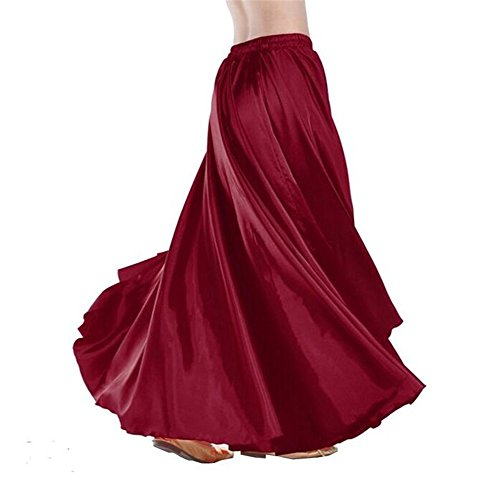 ZYZF 90cm Belly Dance Satin Long Dress Elastic Waistband Design Skirt Costumes - The Elastic Waistband Costume