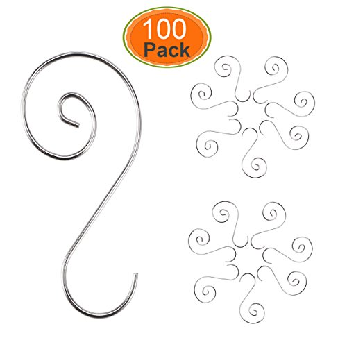 HOMEMAXS 2018 New Year Ornament Hooks Christmas Ornament Hangers 45mm S Hooks Christmas Tree Hanger 100 Pack