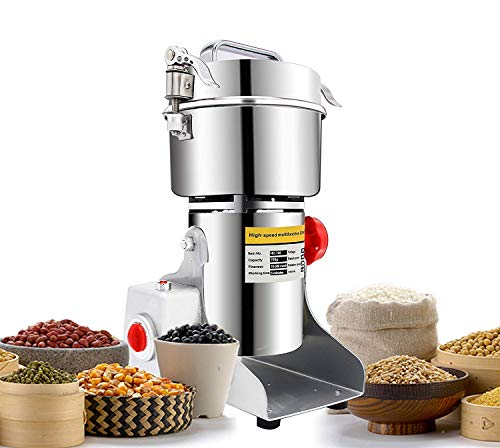 e Grain Mill Grinder 400 gr | Stainless Steel, Commercial Grade | Grind Grain, Roots, Flour, Kernel, E-gelation, Olibanum, Milk Vetch |Energy Saving Grinding (400 gr) ()
