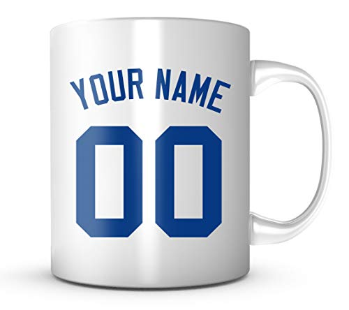 Customize Jersey Back Mug - Los Angeles Blue Baseball Your Name & Number 11 oz. Coffee Cup