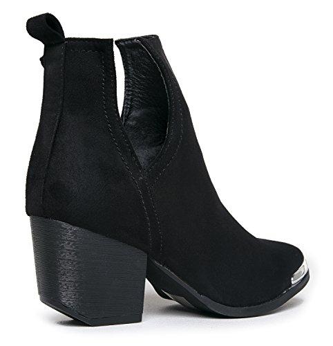 MI IM Western Slip auf V-Cut Out Stacked Heel Bootie - Seitlicher Schnitt aus Metall mit Knöchelzug Cowboy Women's Boot Schwarzes Wildleder