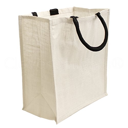 """10 Pack - CleverDelights White Burlap Shopping Bags - 16"""" x"""