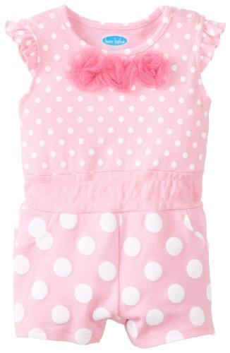 BON BEBE Baby-Girls Newborn Polka Dot and Tulle Rosettes Romper