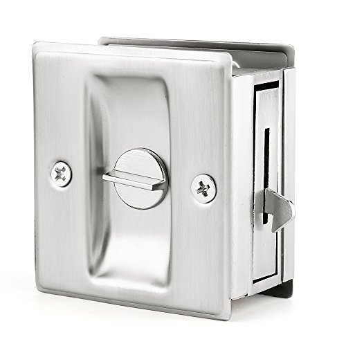 "Privacy Sliding Door Lock With Pull Brushed Satin Nickel- Replace Old Or Damaged Pocket Door Locks Quickly And Easily, 2-3/4""x2-1/2"", For Door Thickness From 1-3/8"" To 1-3/4"" … - Edge Pull Pocket Door Lock"