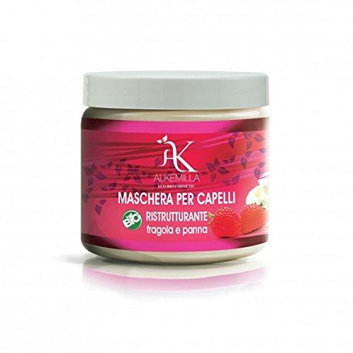 ALKEMILLA - Masque Biologique aux Fraises et Crème - avec Protéine de Soja - Soin intensif pour cheveux secs et abîmés - Vegan. Fabrique in Italie