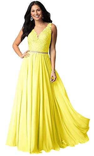 Women's V Neck Lace Bodice Chiffon Prom Dresses Long Formal Evening Party Gown (Yellow-H,10)