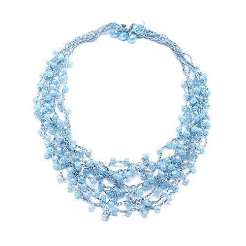 So Pretty Beads Collar Necklace for Women Multi Strand Blue Bead Statement Necklace