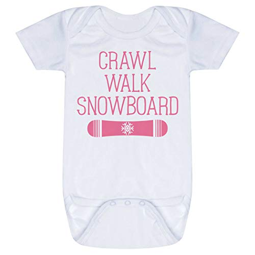 Snowboarding Baby & Infant Onesie | Crawl Walk Snowboard | Pink | One Piece - Snowboarding Onesie