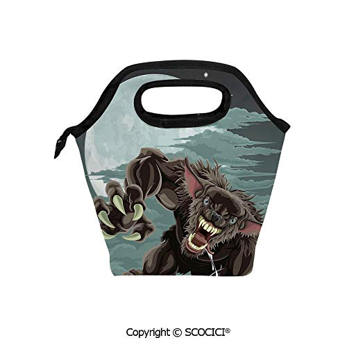 Reusable Printed Design Lunch Bag Night Skyline with Full Moon and Stars Werewolf Attacking Position Ravenous Being Decorative Lunch Tote bag for Work and School.