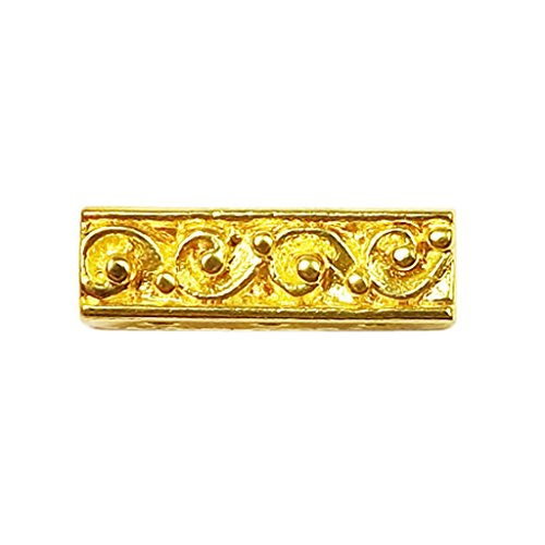 - 18K Gold Overlay Multi Strand Scroll Work Spacer Bar With 3 Hole CG-465-18X6MM