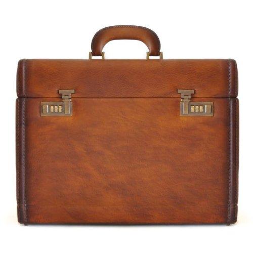Pratesi Mens Italian Leather Ghirlandaio Bruce Desk Attache Case, Brown