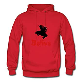 Custom-made Pigs Cotton Women Unique X-large Hoodies Red