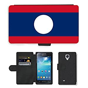 GoGoMobile Flip PU Leather Wallet Case with Credit Card Slots // V00001099 laos National Country Flag // Samsung Galaxy S4 Mini i9190